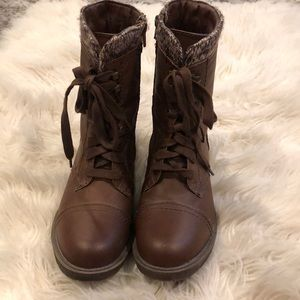 Rampage Shoes - Worn once. Brown combat boots with leg warmers